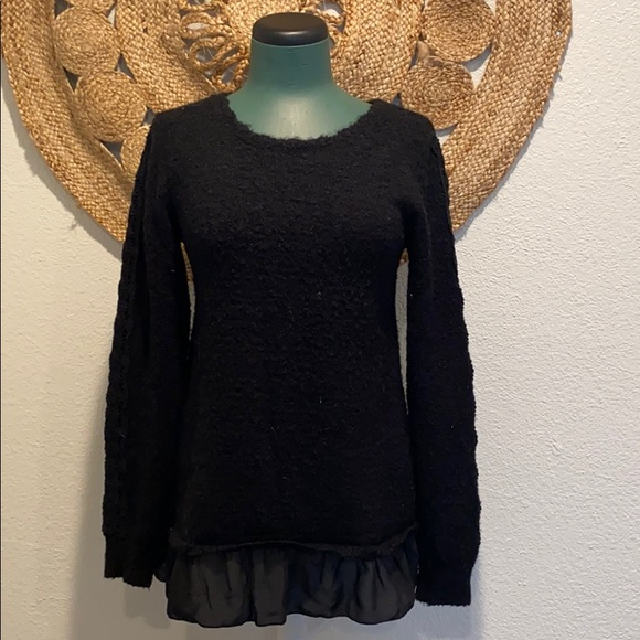 Black Knit Tunic Sweater With Embellishments